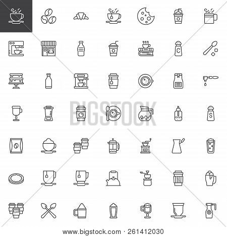 Coffee Shop Outline Icons Set. Linear Style Symbols Collection, Line Signs Pack. Vector Graphics. Se