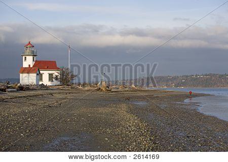 Robinson Point Vashon Island Washington Puget Sound light house and shoreline poster