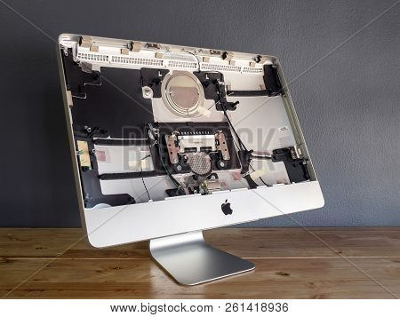 Chiangrai, Thailand: September 19, 2017 - The Disassembled Apple Imac Computer Body Cover To Make Re