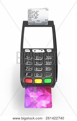 Card Payment Terminal With An Empty Screen Pos Terminal With Credit Card And Receipt Isolated On Whi