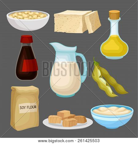 Soya Food Products Set, Milk, Oil, Sauce, Tofu, Bean, Flour, Healthy Diet, Organic Vegetarian Food V