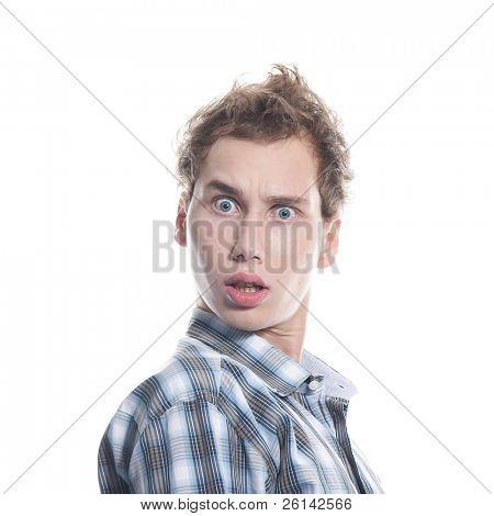 shocked man over white