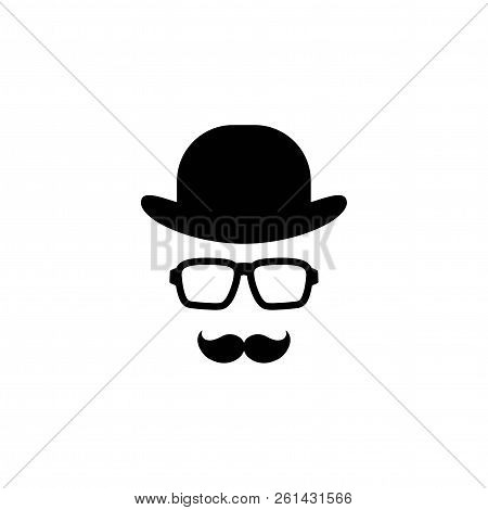 Gentleman Icon Isolated On White Background. Silhouette Of Man's Head With Moustache, Hipster Glasse