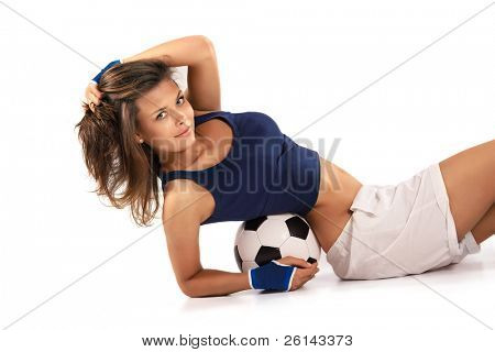 Sexy girl doing fitness with soccer ball over white background poster