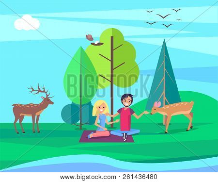 Environment Day People In Forest Sitting On Blanket Caring For Deer And Roebuck Tree With Nest Of Fl