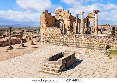 Volubilis near Meknes in Morocco. Volubilis is a partly excavated Amazigh, then Roman city in Morocco situated near Meknes, the ancient capital of the kingdom of Mauritania. poster