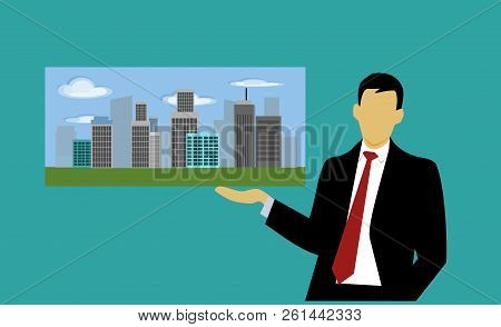 Business Men Are Introducing Real Estate On Blue Background