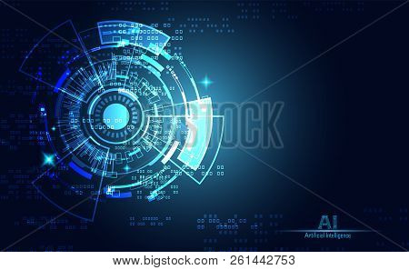 Modern Abstract Technology Concept Communication Circle Digital Circuits On Blue Background And Inno