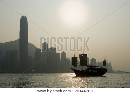Sunset view on Hong Kong Island's famous skyscrapers seen from Victoria Harbor with a boat in the foreground