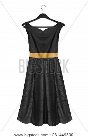 Elegant Flared Black Off The Shoulders Dress On Black Clothes Rack Isolated Over White