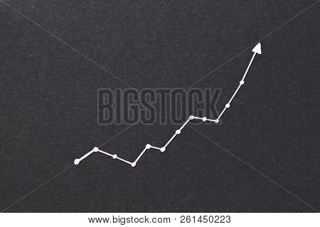 Exponential Diagram. Trend Success Increase And Financial Forecast Concept. Arrow Pointing Upward On