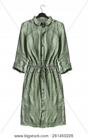 Khaki Green Casual Shirt Dress On Black Clothes Rack Isolated Over White