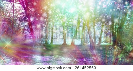 Supernatural Fantasy Woodland Scene - multicoloured row of trees with many white orb lights, sparkles and shafts of coloured light poster