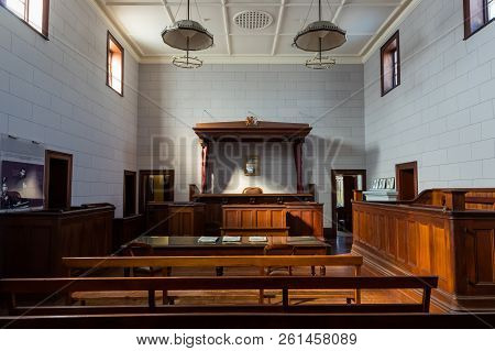 Beechworth, Australia - April 30, 2018: Court Room In The Beechworth Court House, Built In 1858. Ned