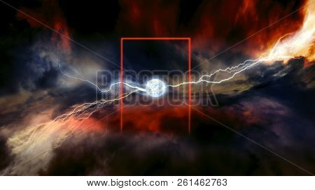 Heaven And Hell . Lightnings In Dark Sky . Dramatic Nature Background . Ball Lightning .