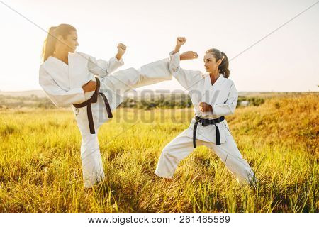 Two female karate with black belts fight in field