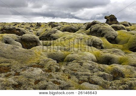 The pillow-like tops of the moss covered lava fields near Kirkjubaerjarklaustur in the south of Iceland, with its peculiar shapes, the aftermath of the 1783 volcanic eruption of the Laki Volcano