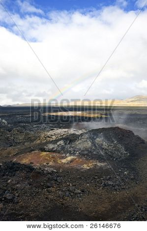 The Kroflustod lava fields of the 1984 eruption of the Krafla Volcano. The solidified magma and lava is still hot, and provide a spectacular barren  view
