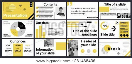 Design Of A Business Presentation Template With Yellow, Black And Grey Colours. Vector Set Of Infogr