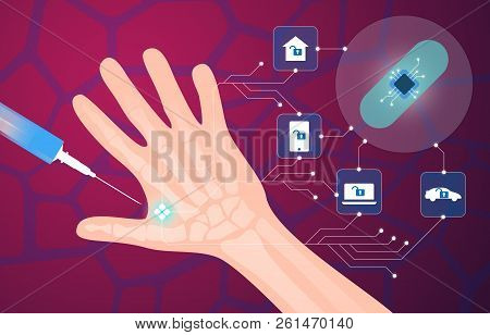 Human Microchip Implant In Hand Vector Illustration