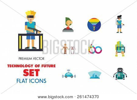 Technology Of Future Icon Set. Virtual Glasses Exoskeleton Flexible Display Pressing Button Vr Gamin