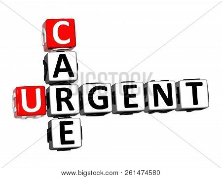 3D Rendering Crossword Care Urgent Word Over White Background. poster