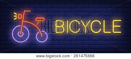 Bicycle Neon Text And Retro Bike. Bicycling, Sport And Advertisement Design. Night Bright Neon Sign,