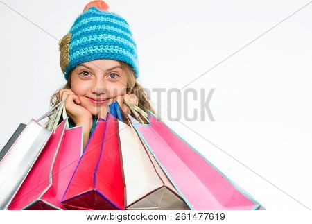 Girl Child Knitted Hat Hold Bunch Shopping Bags. Fall Sale Season. Buy Autumn Clothes. Must Have Lat