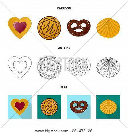 Isolated Object Of Biscuit And Bake Sign. Set Of Biscuit And Chocolate Stock Vector Illustration.