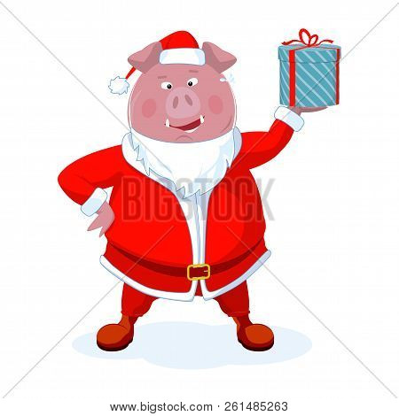 Funny Boar Dressed As Santa With A Gift. Christmas Vector Illustration.