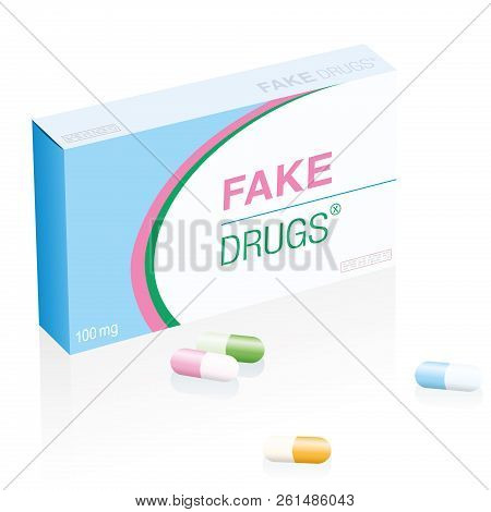 Fake Drugs Medicine Package With Colored Capsules, Pharmaceutical Fake Product. Symbolic For Risk An