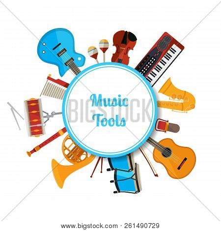 Vector Cartoon Musical Instruments Under Circle With Place For Text Illustration