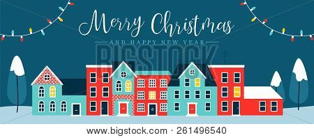 Merry Christmas And Happy New Year Web Banner Illustration Of Cute Houses In Winter Season. Holiday
