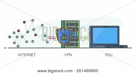 Vpn Protection. Line Style Laptop Connected To Protected Vpn Server. Vpn Server With Shield Connect
