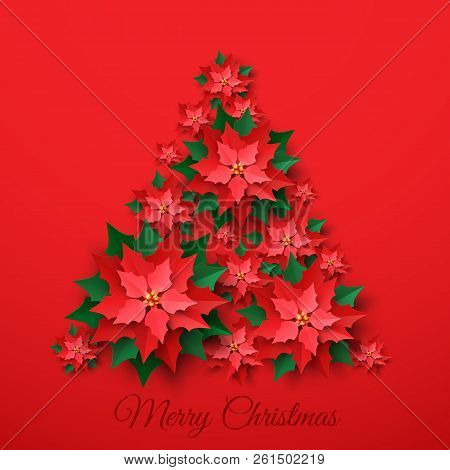 Vector Red Christmas Tree Made Of 3d Layered Poinsettia Flower In Paper Cut Style On Red Background.