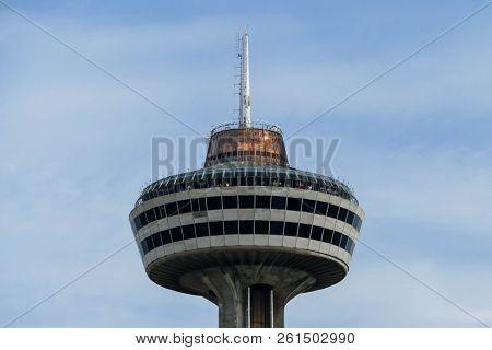 NIAGARA FALLS, CANADA - MAY 29, 2016: Skylon Tower with blue sky in Niagara Falls view from Canadian side in Niagara Falls