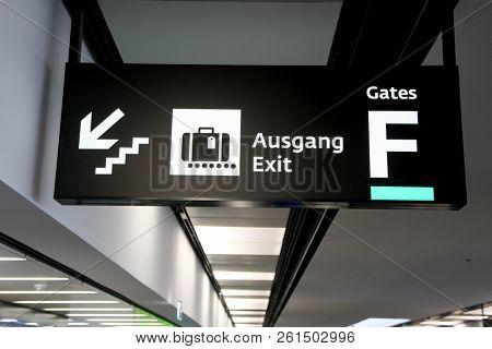 VIENNA, AUSTRIA - JANUARY 4, 2018:  Direction sign from Schwechat International airport in Vienna.