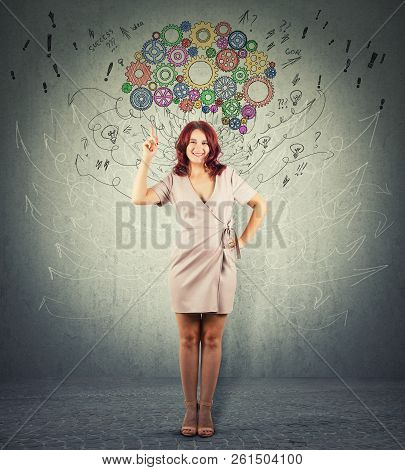 Full Length Portrait Of A Redhead Young Woman Finger Pointed Up And One Hand On Hips Try To Draw Att