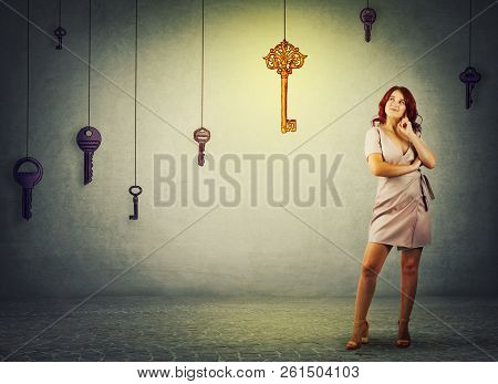 Young Woman Thinking Holding Hand Under Chin And Looking Up. Full Length Portrait Of Girl Find The M