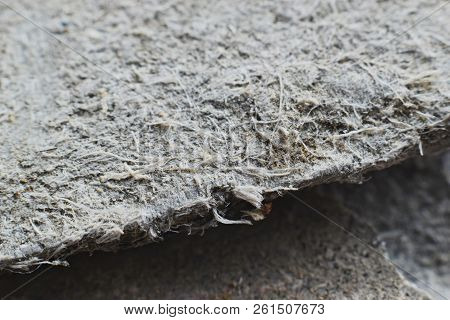 Detailed Photography Of Roof Covering Material With Asbestos Fibres. Health Harmful And Hazards Effe