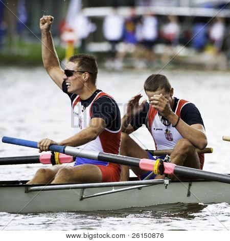 AMSTERDAM - JULY 23:  Lucic and Djordjevic (Serbia's BM4+) wins gold at the world championships rowing under 23 in a world record time of 6:03.01. On July 22, 2011 in Bosbaan, Amsterdam, Netherlands