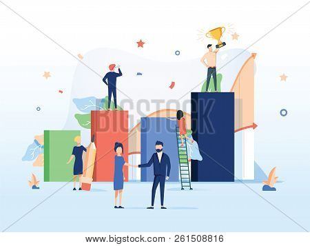 Illustrations Design Concept Business Success Via Growth Graph Chart. Small People Working Together