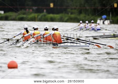 AMSTERDAM - JULY 23: Wang, Liu, Wang, Cao (China's BLW4x) is about to become world champion with a world record time of 6:30.71.On July 22, 2011 in Bosbaan, Amsterdam, The Netherlands