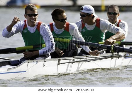 AMSTERDAM-JULY 23: Krpesics, Forrai, Vallyon and Novak (Hungary BLM4-) reach the finals of the world championships under 23.On July 22, 2011 in Bosbaan, Amsterdam, The Netherlands
