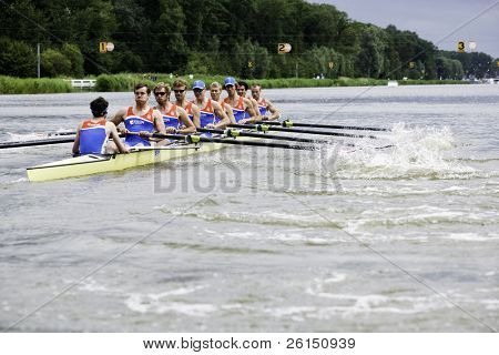 AMSTERDAM-JULY 22: The Dutch Men's eight team races for a place in the finals at the world championships rowing under 23. On July 22, 2011 in Bosbaan, Amsterdam, The Netherlands