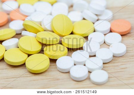 Colorful Pills And Drugs In Close Up. Different Kinds Of Multicolored Pills And Drugs. Opioid Painki
