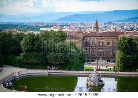 Ancient city center, Florence, Tuscany, Italy. Varicoloured beautiful building in ancient European town. Boboli Gardens, Florentine amazing landscape.