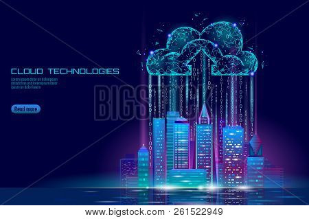 Smart City 3d Light Cloud Computing Cityscape. Intelligent Building Big Data Exchange Storage Online