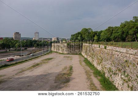 Wall Of Nis Fortress And Nisava River Embankment. Niš, Serbia.