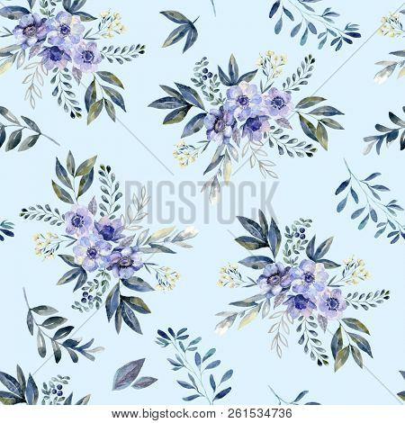 Floral Watercolor Seamless Pattern On Cyan Background Endless Wedding Wallpaper Botanical Wrapping Paper Design